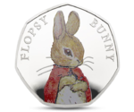 UK Great Britain 50 Penny Flopsy Bunny 2018 Silver PROOF
