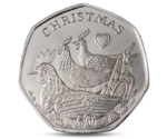 IOM 50P XMAS Three French Hens 2007 UNC