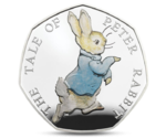 UK Great Britain 50 Penny Peter Rabbit Silver 2017 PROOF
