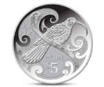 New Zealand 5 Dollar Huia Bird Silver 2015