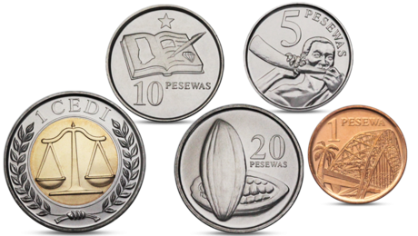 ghana currency 5 coins set 2007 2012 unc