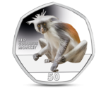 Gibraltar 50 Pence Red Colobus Monkey Coloured 2018